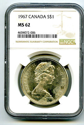 1967 $1 Canada Silver Dollar Ngc Ms62 Flying Goose Reverse - Ms Uncirculated