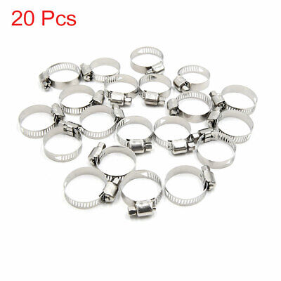 20Pcs Metal Adjustable 16-25mm Drive Hose Clamp Fuel Line Pipe Tube Tight Clip
