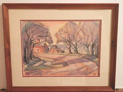 OLD antique vintage Fine Art Watercolor PAINTING artist signed landscape framed