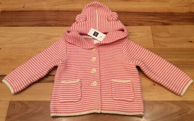 Baby Gap Girls 12-18 Months Pink & White Striped Sweater With Bear Ears. Nwt