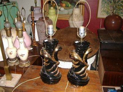 Pair Modern White Black Gold Table Lamps Vintage Antiques