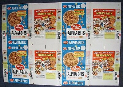 Alpha-Bits Cereal Original uncut 1958 Flat featuring Mighty Mouse, beautiful