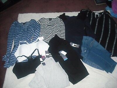 Womens Maternity NWT Lot 10 Motherhood Jeans Tops Bras PJ's Size XL FREE SHIP