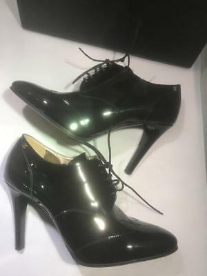 b0ad515a368e CHANEL 17A Patent Leather Lace Up Ankle Booties Boots Heels Shoes Black  950