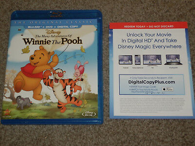 The Many Adventures of Winnie the Pooh (Blu-ray/DVD, 2013, 2-Disc Set) ORIGINAL