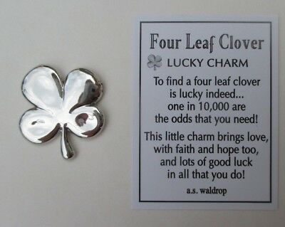 p Four 4 leaf clover shamrock POCKET TOKEN LUCKY CHARM ganz good luck hope faith