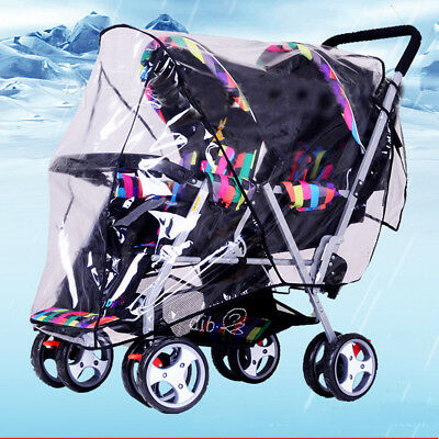 Clear Stroller Rain Pushchair Cover Weather Pram Baby Infant Double Wind Shield