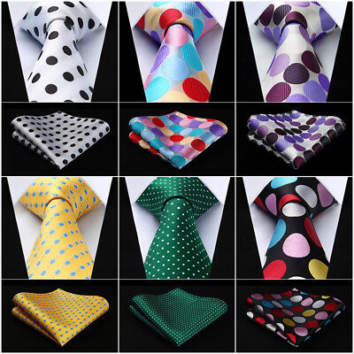 "HISDERN Polk Dot 3.4"" Silk Woven Wedding Men Tie Necktie Handkerchief Set#RD1"