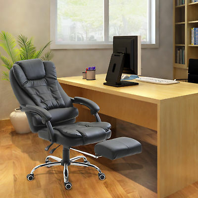 High Back Reclining Office Chair Swivel Executive Napping PU Seat w/Footrest