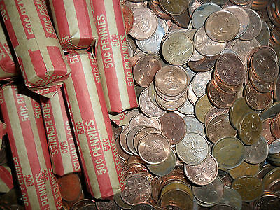 (ZX005) One Roll Canada Pennies(Canada melting down pennies)Getting RARE)