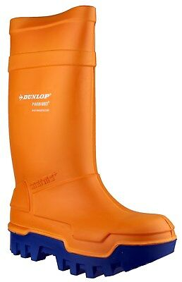 Dunlop Purofort Thermo+ Full Safety Orange Pull On Wellington Boots UK4-13