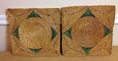 Two Large Vintage Straw Raffia Rattan Mats, Square, Trivets, Pale Yellow, Green