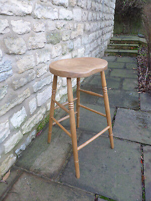 Vintage Oak + Beech Round Stool, Dished Top on Long, Turned Legs.