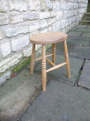 Vintage Oak , Ash + Beech Stool, Oval Top , Turned Legs.