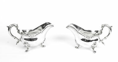Antique Pair English Silver Sauce Boats, Robert Garrard 1846
