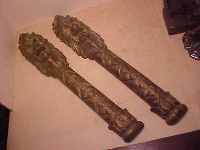 Pair 1890's Cast Iron Architectural Building Mounts Griffin Heads 19 Inches