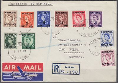 1959 BAHRAIN R-Cover to Germany, clean oval postmark on QEII stamps [bl0348]