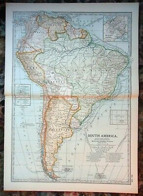 Antique Map ~ SOUTH AMERICA ~ c1902