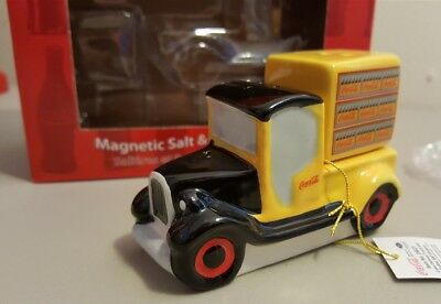 Coca Cola Coke Yellow Delivery Truck & Bottles Salt & Pepper Shakers NIB