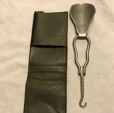 Antique Folding Metal Shoe Horn & Lacing Stick Old Vintage Occupational Therapy