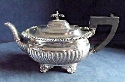 GOOD ~ Q.Anne Style ~ SILVER Plated ~ Fluted TEAPOT ~ c1900 by Barker Ellis