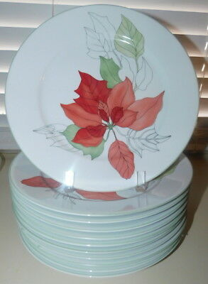 "BLOCK SPAL Dinnerware Poinsettia 9 3/4"" Luncheon Plate  - Mint - Set of 11"