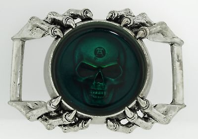 1996 The Alchemy Carta Pewter England Green Resin Skull Belt Buckle Retired