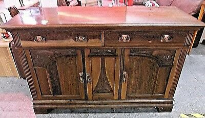 Vintage Arts & Crafts Style Solid Oak & Veneer Dark Wood Sideboard Cabinet - P26