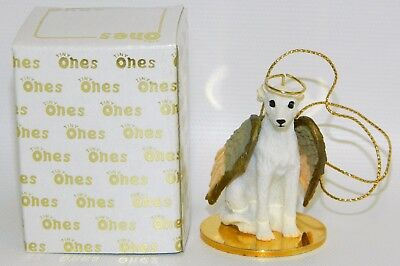 "Whippet Dog Figurine Ornament Angel 2"" Miniature Figure Tiny Ones 1996 White"