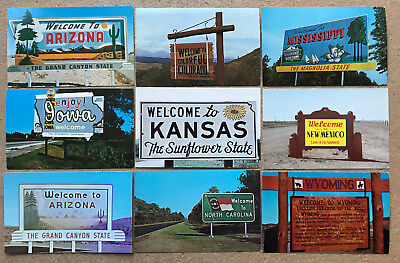 WELCOME TO OUR STATE - 9 Great VINTAGE WELCOME STATE Line SIGNS BILLBOARDS