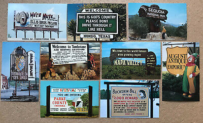 9 Vintage ROADSIDE SIGNS & BILLBOARDS Wacky Weird Unusual or Funny POSTCARDS