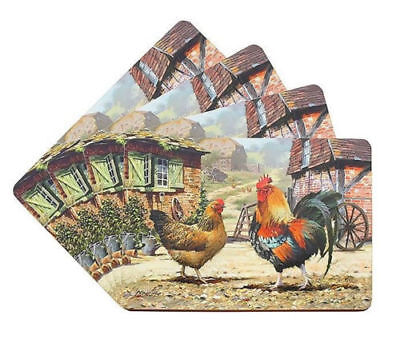 Cockerel & Hen Farmyard Design Set Of Four 4 Placemats LP92538