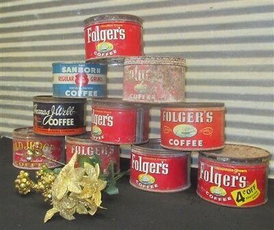 10 Assorted Vintage Coffee Cans Tin Vintage Advertising Sign Coffee Canisters i