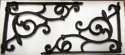 "set of 2 antique style Large Cast Iron Shelf Brackets 13"" x 8-3/4"" #68"