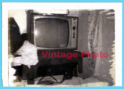 Original Vintage B&W Polaroid of TV Set on Antique Sewing Machine in Messy Room