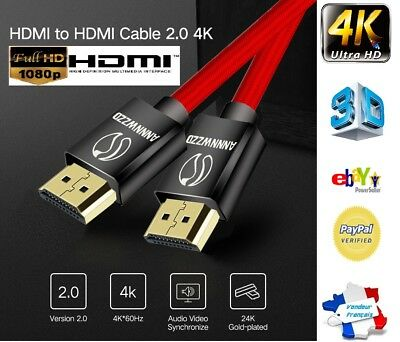 4K Câble HDMI 2.0 Plaqué or Tressé ULTRA FULL HD TV PC PS3 PLAYSTATION 3D 60Hz