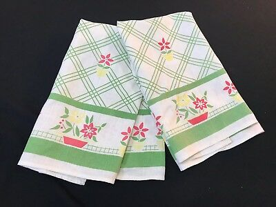 Pair Of Vintage Green, White, Yellow & Red Floral & Lattice Dish Towels