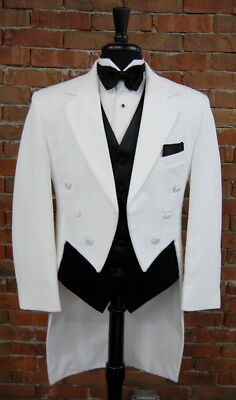 Mens 41 L Classic White Notch Tails Tuxedo Jacket Full Dress Tail 6 Button Front
