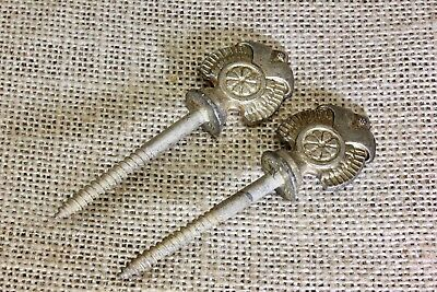 2 Victorian picture screw nails flower decorated old antique silver plate nickel