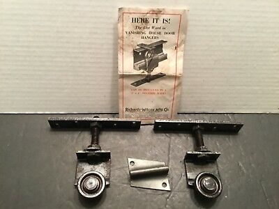 VTG Antique Pair of R W Vanishing House Door  POCKET DOOR ROLLERS Hardware