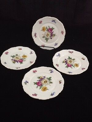Mitterteich Bavarian China - Meissen Floral - Set of 4 Bread Plates