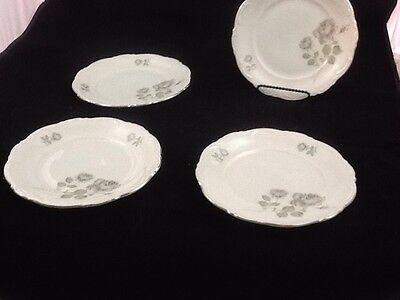 "Set of 4 Salad Plates 7.5"" Mitterteich Mystic Rose Pattern"