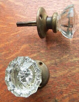 Two Antique Fluted Glass & Brass 1920's Doorknobs Door Knobs & Rosettes  #39