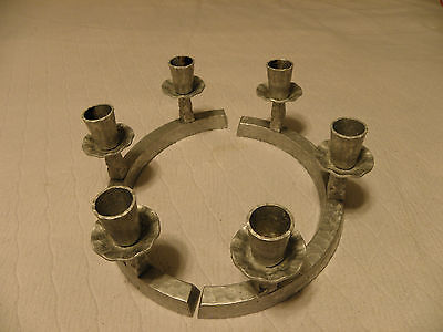 Pair of vintage hammered aluminum candle holders