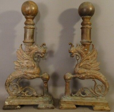 (2) 19thC Antique BRONZE WINGED GRIFFIN STATUE Figural FIREPLACE Andiron CHENET