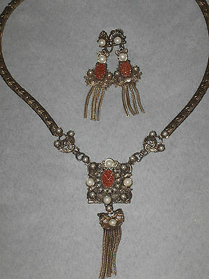Antique Victorian Art Nouveau Sunstone & Filigree Dragon Necklace Earring Set