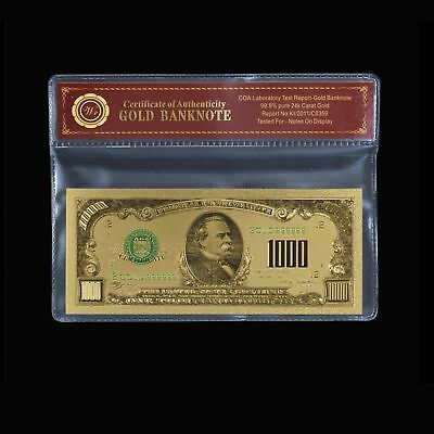 24K Gold Foil Plated 1928 $1000 Gold Dollar Bill Banknote Novelty W/coa #pouch