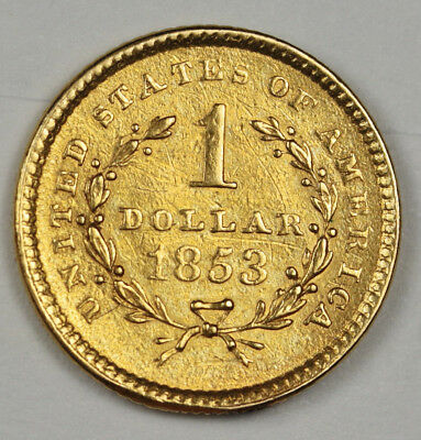 1853 One Dollar Gold.  A.U.  118495