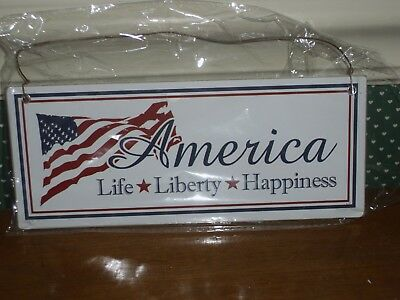 K&k Interiors-Large Americana Ornament-America-Life-Liberty-Happiness-New