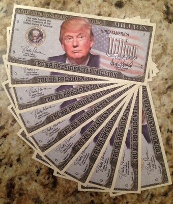 Trump Presidential Million Dollar Novelty Banknotes Lot Of (10) From Usa Seller